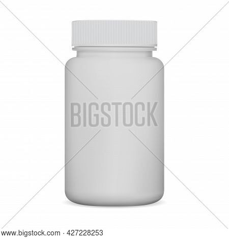 White Pill Bottle. Supplement Jar, Plastic Package Mockup. Medicine Can Isolated On White Background