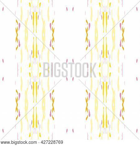 Spots, Ikat. Tie Dye, Batik. Seamless Pattern. Geometric Surface. Hand Drawn Painted. Sepia Yellow V