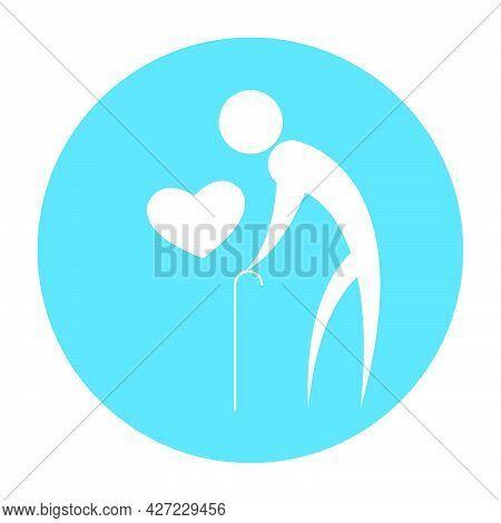 Old Man Icon With Cane And Heart For International Day Of The Elderly, Vector Art Illustration.