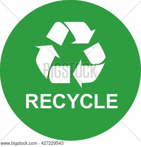 Recycle Sign Icon. White On Green Round Background. Recyclable Waste Symbol.