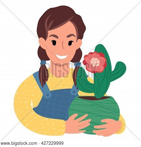 Caucasian Girl With A Cactus In Bloom. Flat Style Illustration