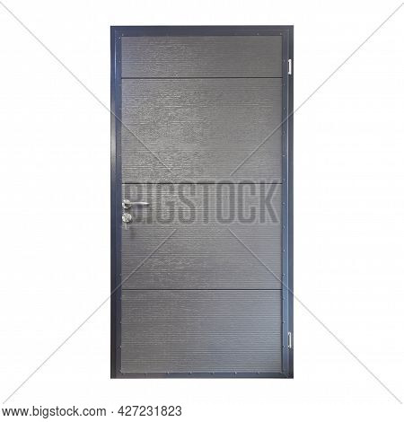 Gray Metal Front Door To The House On A White Background. Interior Side Of Gray Entry Door Isolated
