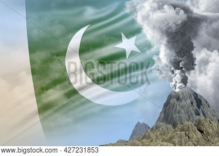 Volcano Eruption At Day Time With White Smoke On Pakistan Flag Background, Suffer From Eruption And