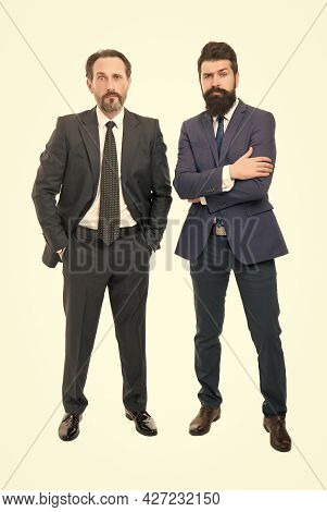 Collaboration And Teamwork. Bearded Businessmen In Formal Clothes. Boss And Employee. Education For