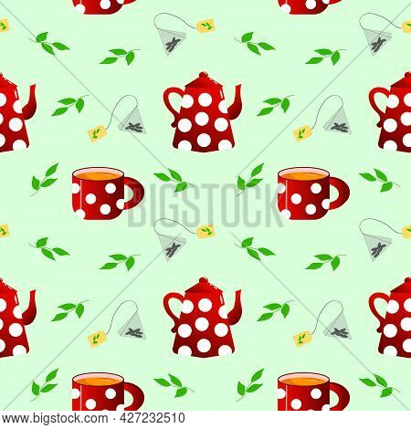 Tea Pair - Teapot And Cup. The Dishes Are Red With White Polka Dots. Vector Seamless Pattern. For Me