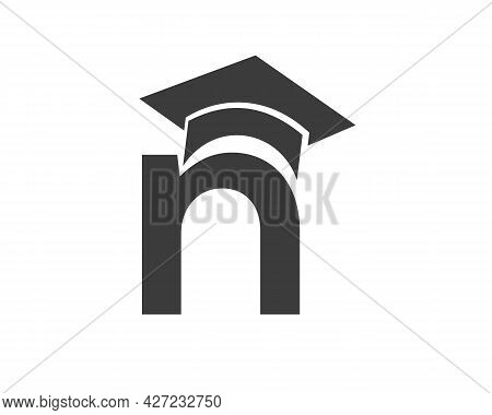 Education Logo With N Letter Hat Concept. Graduation Logo With N Letter Vector
