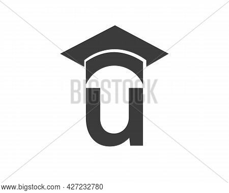 Education Logo With U Letter Hat Concept. Graduation Logo With U Letter Vector