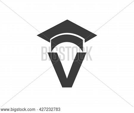 Education Logo With V Letter Hat Concept. Graduation Logo With V Letter Vector
