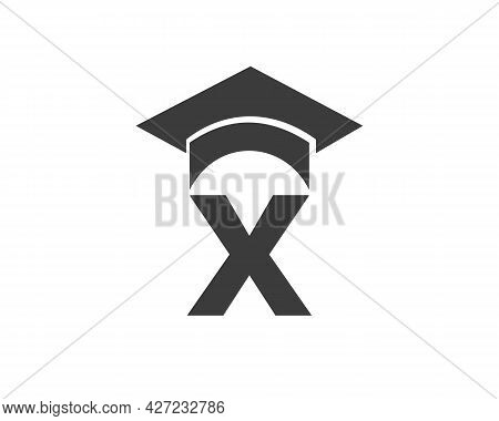 Education Logo With X Letter Hat Concept. Graduation Logo With X Letter Vector