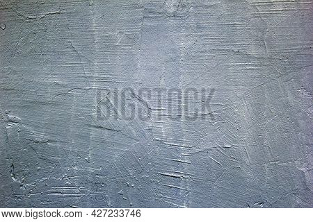 Gray Plastered Wall. Gray Background. The Texture Of An Old Painted Wall