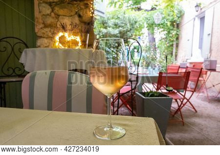 Summer On French Riviera Cote D'azur, Drinking Cold Rose From Cotes De Provence On Outdoor Terrase I