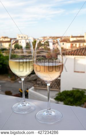 Summer On French Riviera Cote D'azur, Drinking Cold Rose And White Wine From Cotes De Provence On Ou