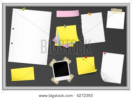 Bulletin Board With Stationery (grouped For Easy Editing)