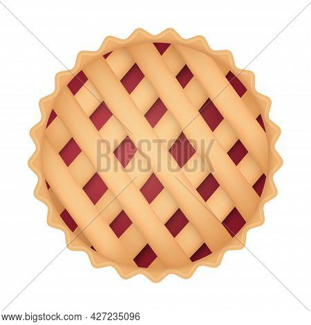 Cherry Pie, Traditional Thanksgiving Food. Sweet Red Apple Cake, Top View. Thanksgiving Day Symbol.