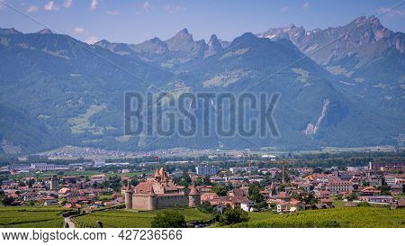 Aigle Castle With Vineyards In The Canton Of Vaud. Switzerland. Landscape.