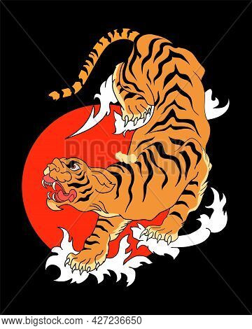 Abstract Tiger Climbing Down On Black Background With Spreading Wave Effect And Full Red Moon. Vecto