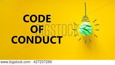 Code Of Conduct Symbol. Green Shining Light Bulb Icon. Words 'code Of Conduct'. Beautiful Yellow Bac