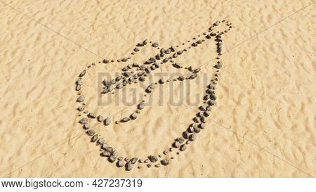 Concept conceptual stones on beach sand handmade symbol shape, golden sandy background, guitar sign. A 3d illustration metaphor for music, concert, accoustic, jazz, rock, lifestyle and entertainment