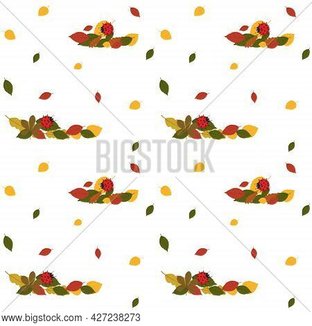 Pattern With Autumn Leaves And Red Ladybug