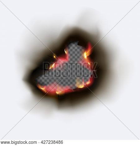 Realistic Burnt Hole In Paper With Fire And Black Ash.