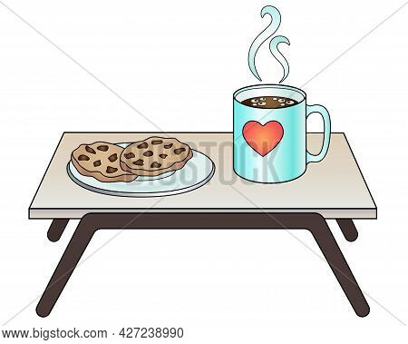 Breakfast Table With A Cup Of Coffee And A Plate Of Cookies - Vector Full Color Picture. The Bedside