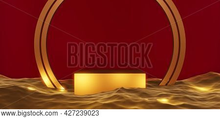 Stage Product Podium Stage Gold On Water 3d Illustration