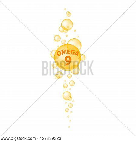 Omega 9 Polyunsaturated Fatty Acid Texture. Fish Oil Pills. Gold Sparkling Bubbles Streaming. Nutrit