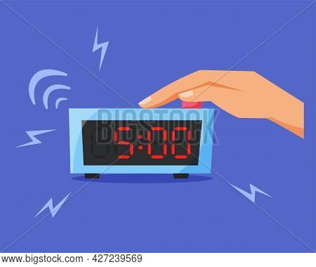 Turn Off Ringing Alarm Clock, Pressing Button On Electronic Clock, Early Morning Concept, Waking Up