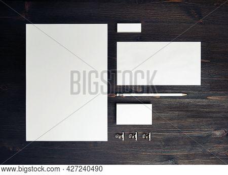 Blank Corporate Stationery Set On Wooden Background. Template For Branding Design. Branding Mock Up.