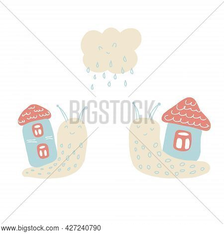 Hand Drawn Vector Illustration Of Two Cute Snails With Houses And Rainy Cloud. Perfect For Scrapbook