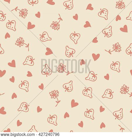 Doodle Style Strawberries, Flowers And Red Hearts Love Seamless Pattern.  Perfect For Scrapbooking,