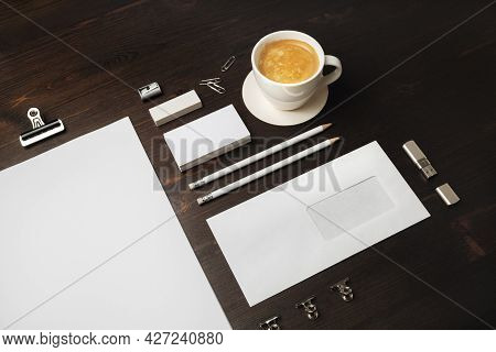 Blank Stationery Set And Corporate Identity Template On Wooden Background. For Design Presentations