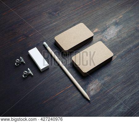 Blank Kraft Stationery Set. Blank Vintage Business Cards, Pencil And Eraser On Wood Table Background