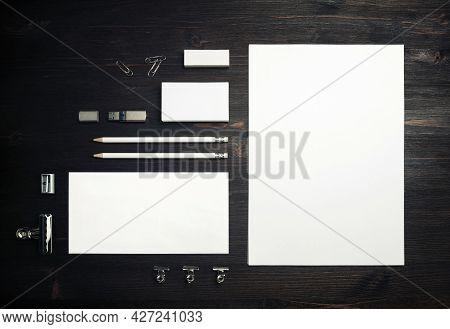 Blank Stationery Set On Wood Table Background. Template For Branding Design. Branding Mock Up. Flat