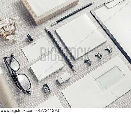 Photo Of Blank Stationery Set On Light Wooden Background. Business Brand Template. Branding Mock Up.