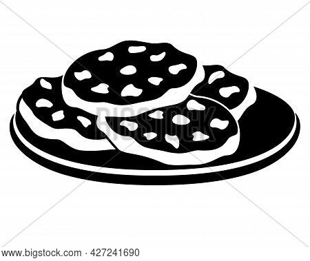 Cookies. Chocolate Chip Cookies On A Plate - Vector Silhouette Picture For Logo Or Pictogram. Chocol