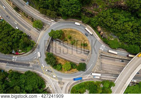 Yau Tong, Hong Kong 21 June 2021: Top down view of Hong Kong traffic roundabout