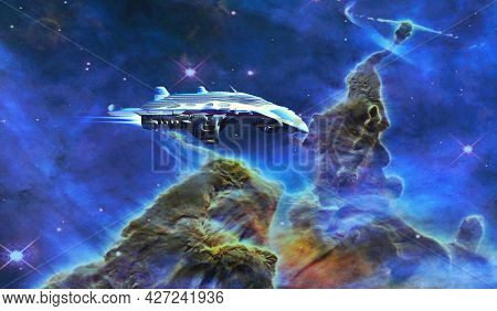 Spacecraft Visits Carina Nebula 3d Illustration - The Carina Nebula Which Is Many Light-years From E