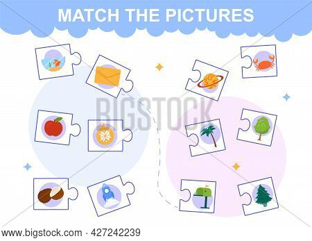 Match The Pictures. An Educational Logic Game For Young Children. Puzzles With The Same Meaning Of T