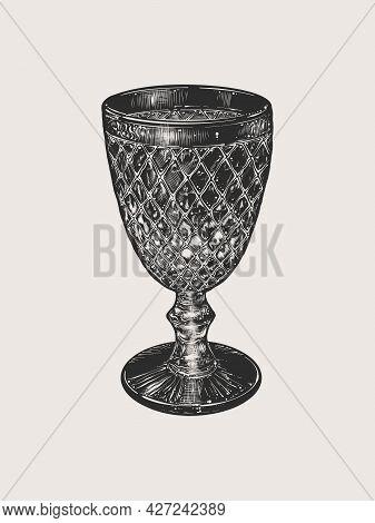 Hand-drawn Sketch Vintage Glass Wine Goblet Isolated On Beige Background. Vintage Style. Vector Illu