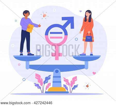 Gender Equality Concept. A Man And A Woman Stand On Large Scales And Balance Each Other. Equal Right