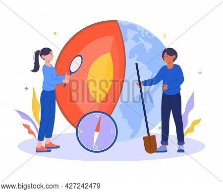 Geology Abstract Concept. Women With A Shovel And A Magnifying Glass Explore The Core Of The Earth.