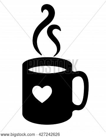 Cup With A Heart. Cup With A Hot Drink - Coffee Or Tea And Rising Trickles Of Steam - Vector Silhoue