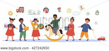 Kids In Kindergarten Concept. A Group Of Young Children Play With Their Favorite Toys In A Preschool