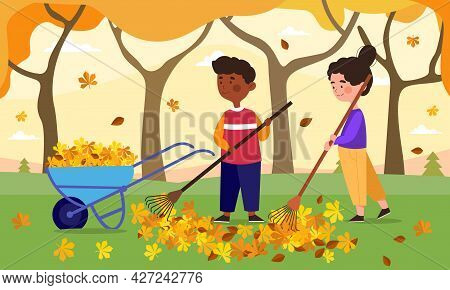 Children Do Housework Concept. A Boy And A Girl With A Cart And A Rake Are Cleaning Fallen Leaves In