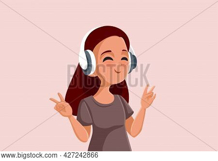 Teen Girl Showing Peace Sign Listening To Music