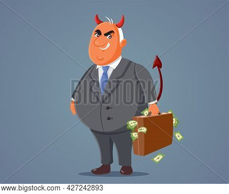 Evil Devilish Businessman Holding A Briefcase Of Money
