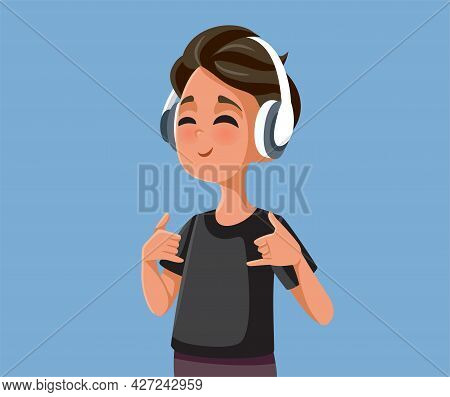 Cool Teen Boy Listening To Music Vector Illustration