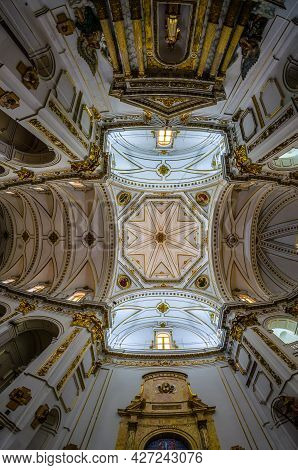 Altea, Spain - December 28, 2018: Interior Of The Beautiful Catholic Church Of Our Lady Of Consolati