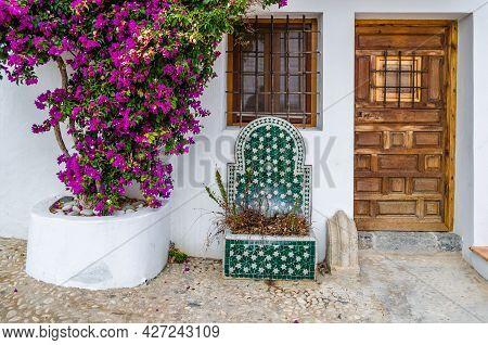 Altea, Spain - December 28, 2018: Architectural Detail, Typical Mediterranean Scene Showing The Faca